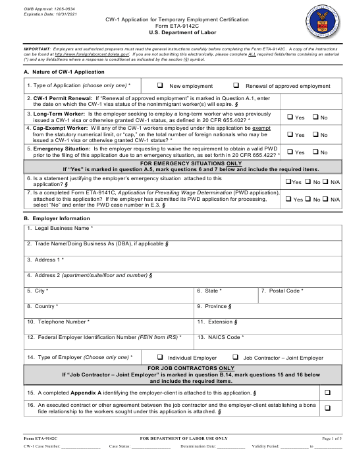 Form CW-1 (ETA-9142C)  Printable Pdf