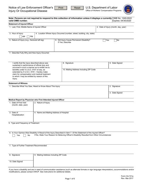 Form CA-721A  Printable Pdf