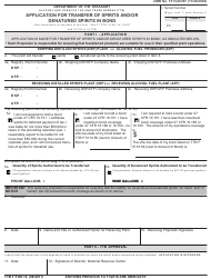 """TTB Form 5100.16 """"Application for Transfer of Spirits and/Or Denatured Spirits in Bond"""""""