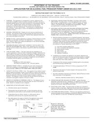 "TTB Form 5110.74 ""Application for an Alcohol Fuel Producer Permit Under 26 U.s.c. 5181"""