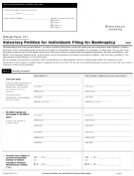 """Official Form 101 """"Voluntary Petition for Individuals Filing for Bankruptcy"""""""