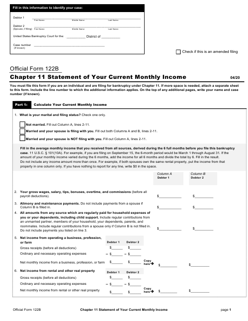 Official Form 122B Printable Pdf
