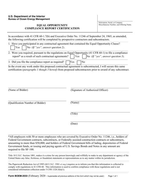Form BOEM-2033 Printable Pdf