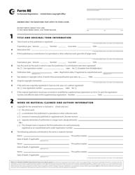 """Form RE """"Renewal Registration"""""""