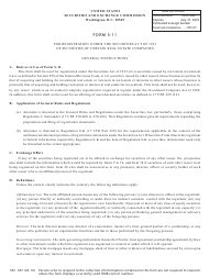 """Form S-11 (SEC Form 907) """"Registration of Securities of Certain Real Estate Companies"""""""