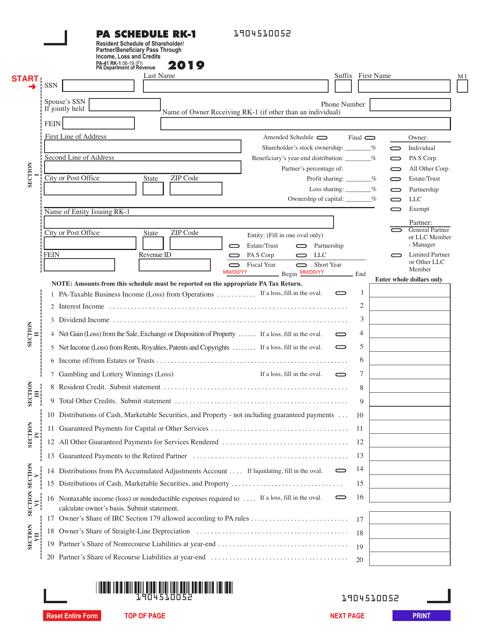 Form PA-41 Schedule RK-1 2019 Printable Pdf