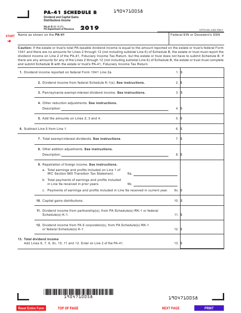 Form PA-41 Schedule B 2019 Printable Pdf