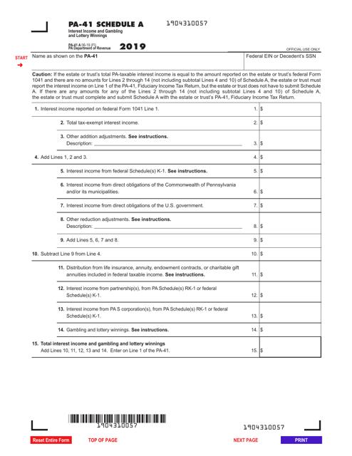 Form PA-41 Schedule A 2019 Printable Pdf