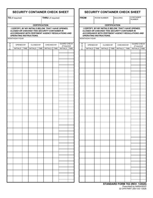 Form SF-702 Printable Pdf