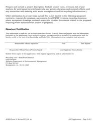 "ADEM Form 9 ""Alabama Recycling Fund Grant Application"" - Alabama, Page 2"