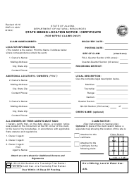 """Form DNR10-162V """"State Mining Location Notice / Certificate (For Mtrsc Claims Only)"""" - Alaska"""