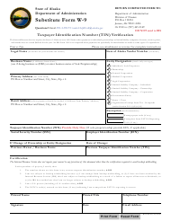 "Form W-9 ""Taxpayer Identification Number (Tin) Verification"" - Alaska"