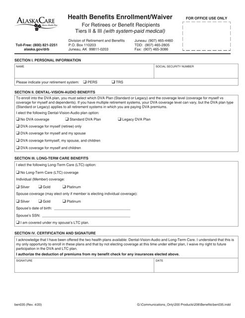 Form BEN035 Printable Pdf