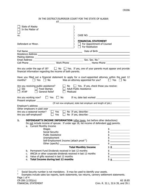Form CR-206  Printable Pdf