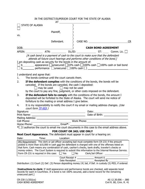 Form CR-230  Printable Pdf