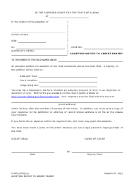 "Form P-460 ""Adoption Notice to Absent Parent"" - Alaska"