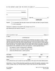 "Form SC-1 ""Complaint"" - Alaska"
