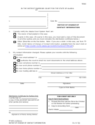 "Form TF-955 ""Notice of Change of Contact Information"" - Alaska"