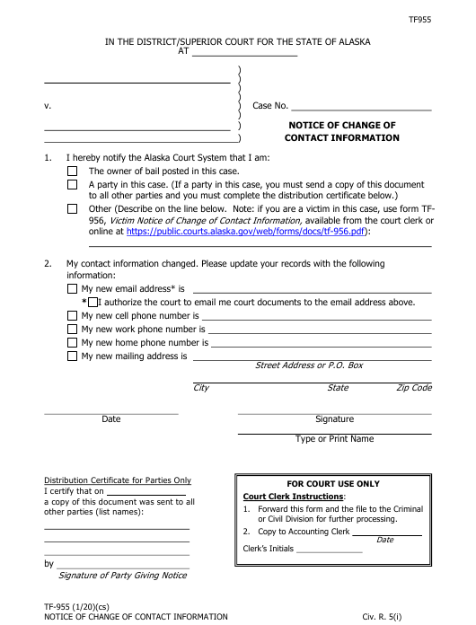 Form TF-955  Printable Pdf