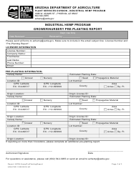 """Industrial Hemp Program Grower/Nursery Pre-planting Report"" - Arizona"