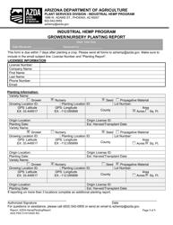 """Industrial Hemp Program Grower/Nursery Planting Report"" - Arizona"