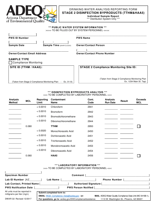 Form DWAR32  Printable Pdf