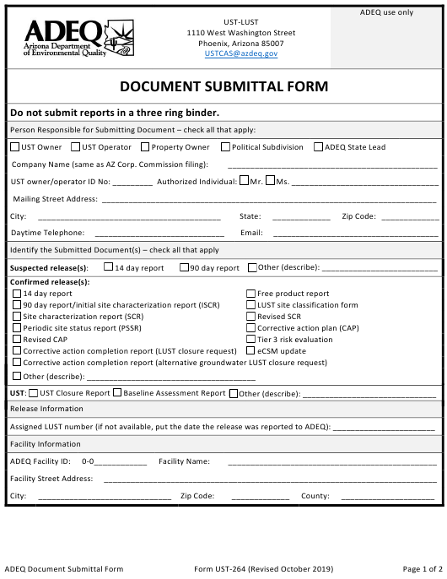 Form UST-264  Printable Pdf