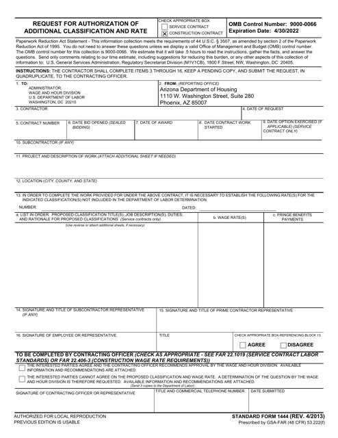 Form SF1444  Printable Pdf