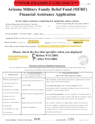 "Sample ""Arizona Military Family Relief Fund (Mfrf) Financial Assistance Application"" - Arizona, 2020"