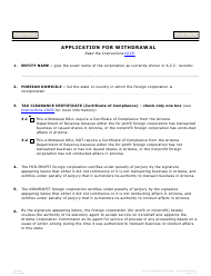 "Form C025.003 ""Application for Withdrawal"" - Arizona"