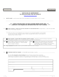 "Form C115.004 ""Articles of Amendment to Application for Authority"" - Arizona"