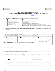 "Form C018.003 ""Application for Authority to Transact Business or Conduct Affairs in Arizona"" - Arizona"