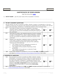 "Form C003.004 ""Certificate of Disclosure"" - Arizona"