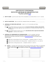 """Form C012.003 """"Certificate Concerning Restated Articles of Incorporation for-Profit Corporation"""" - Arizona"""