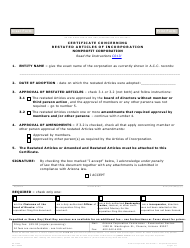 """Form C013.003 """"Certificate Concerning Restated Articles of Incorporation Nonprofit Corporation"""" - Arizona"""