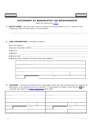 "Form C026.003 ""Statement of Bankruptcy or Receivership"" - Arizona"