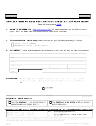 "Form L001.004 ""Application to Reserve Limited Liability Company Name"" - Arizona"