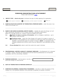 "Form L025.004 ""Foreign Registration Statement"" - Arizona"
