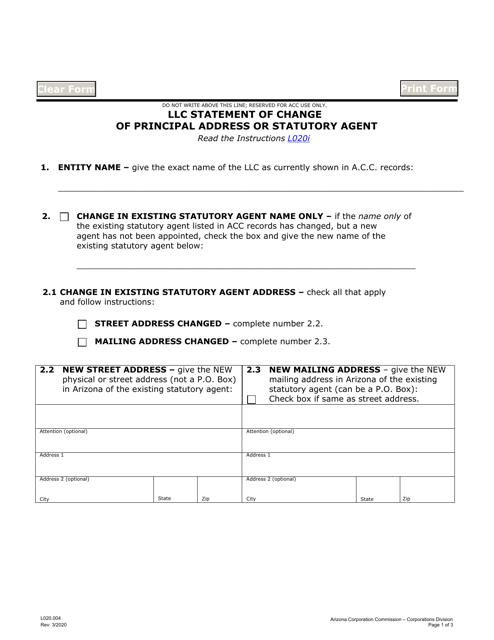 Form L020.004  Printable Pdf