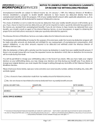 "Form DWS-ARK-501.6 ""Notice of Unemployment Insurance Claimants of Income Tax Withholding Program"" - Arkansas"