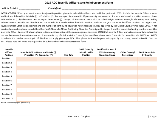 """Aoc Juvenile Officer State Reimbursement Form"" - Arkansas Download Pdf"