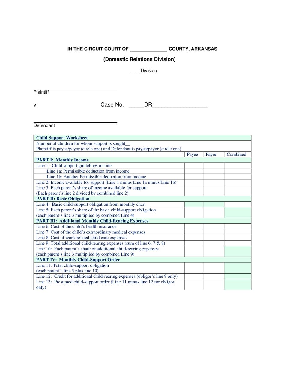 Arkansas Child Support Worksheet Download Printable PDF ...