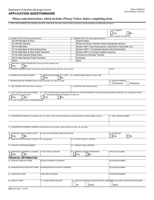 Form ABC-217  Printable Pdf