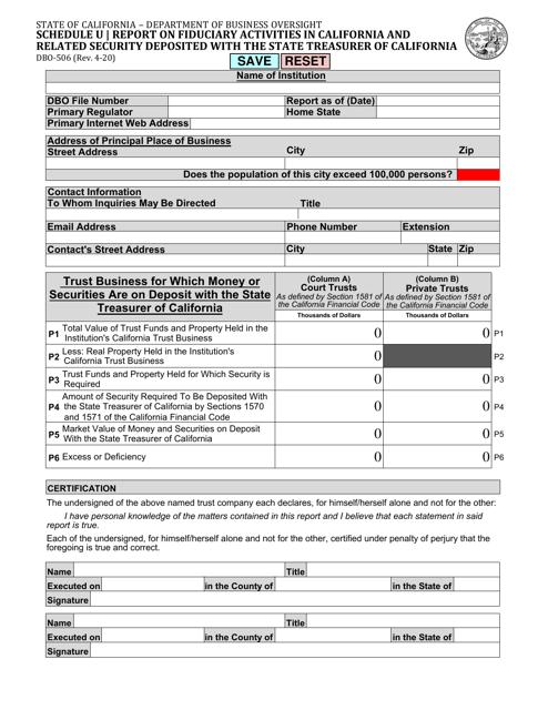 Form DBO-506 Schedule U  Printable Pdf