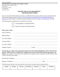 """Form 79-001A """"Exempt Meat Establishment Registration Form"""" - California"""