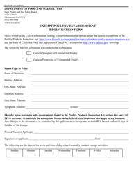 """Form 79-001B """"Exempt Poultry Establishment Registration Form"""" - California"""
