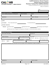 "Form CALHR164 ""Calhr Substance Abuse Program Federal Drug and Alcohol Random Testing Pool Addition/Deletion"" - California"