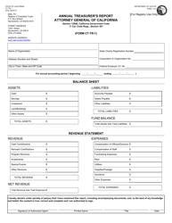 "Form CT-TR-1 ""Annual Treasurer's Report"" - California"