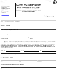 """Form CT-9CF """"Commercial Fundraisers Receipt for Notice of Assessment in Lieu of Surety Bond"""" - California"""
