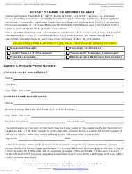 """Form CDPH8391 """"Report of Name or Address Change"""" - California"""